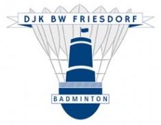 Vereinslogo: Stilisierter Federball mit Godesburg